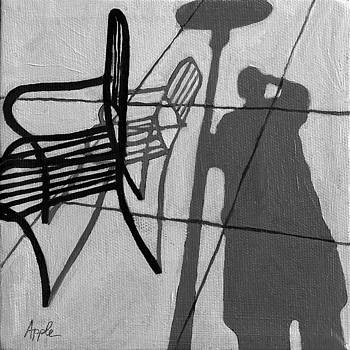 Self Portrait - Cafe Shadows painting by Linda Apple