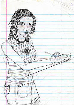 Self Portrait Drawing by Sabirah Lewis