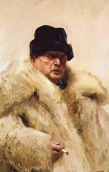 Zorn Anders - Self Portrait In A Wolfskin 1915