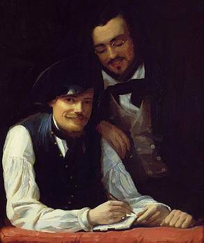 Winterhalter Franz Xaver - Self Portrait Of The Artist With His Brother Hermann