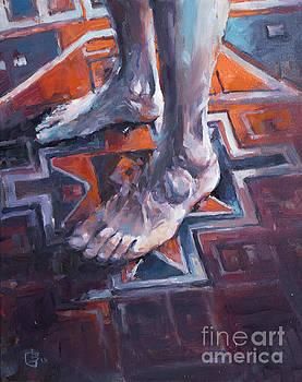 Self Portrait on Rug by Tony Belobrajdic