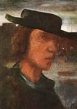 Self Portrait With Hat 1912 by Gulacsy Lajos