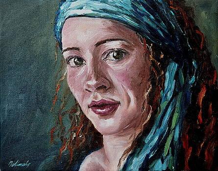 Self-portrait with headscarf by Beata Belanszky-Demko