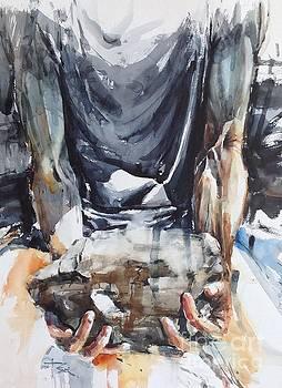 Self Portrait with Rock by Tony Belobrajdic