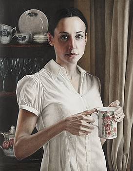 Self Portrait with Tea by Holly  Bedrosian