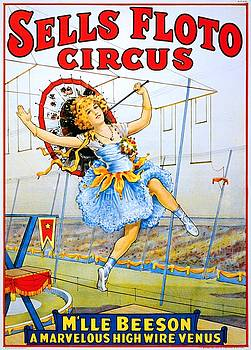 Sells Floto Circus presents M'lle Beeson, a marvelous high wire Venus, performance poster, 1921 by Vintage Printery