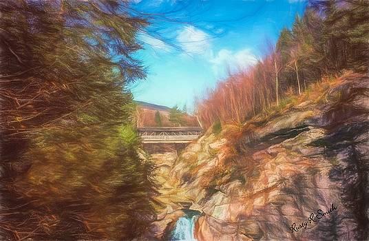 Sentinel Pine Bridge over Flume Gorge Franiconia New Hampshire. by Rusty R Smith