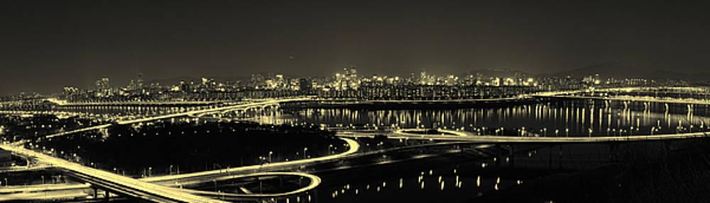 Phoresto Kim - Seoul Night Panorama Landscape of Seoul Korea Black and White Antique
