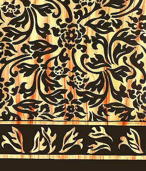 Sepia Floral Border by Leslie Marcus