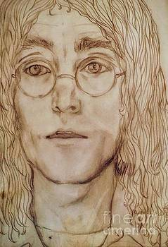 Sepia Portrait of John Lennon by Joan-Violet Stretch