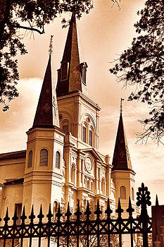 Sepia St. Louis Cathedral by Debi Dalio