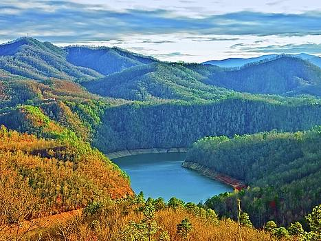 Serene Mountains and Lake by Susan Leggett