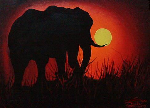 Serengeti Elephant At Sunset 1 by Portland Art Creations