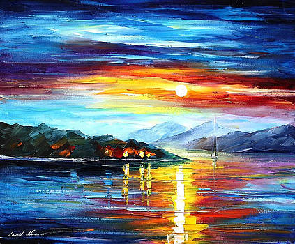 Serenity - PALETTE KNIFE Oil Painting On Canvas By Leonid Afremov by Leonid Afremov