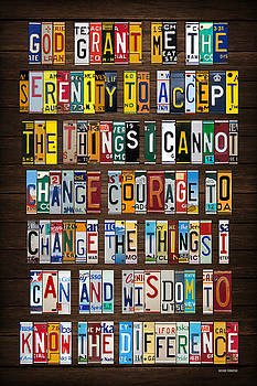 Serenity Prayer Inspiration Words Vintage Recycled License Plate Art Lettering Phrase by License Plate Art and Maps