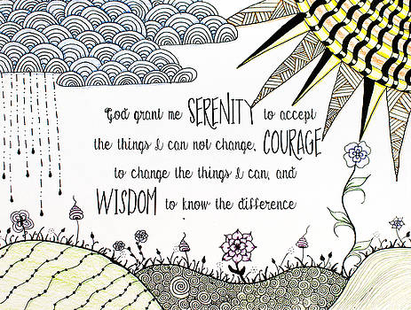 Serenity Prayer Zentangle colored pencil by Emily Smith