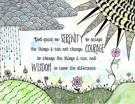 Serenity Prayer Zentangle Watercolor by Emily Smith