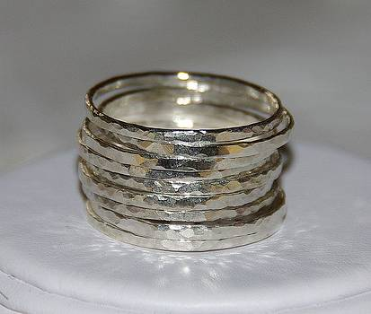 Set of 9 handmade hammered sterling silver stackable rings jewelry by Nadina Giurgiu