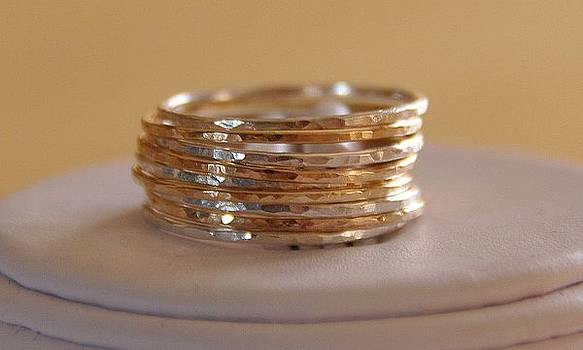 Set of 9 handmade sterling silver and 14k gold fillled stacking rings made to order by Nadina Giurgiu