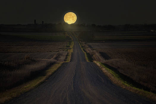 Setting Supermoon by Aaron J Groen