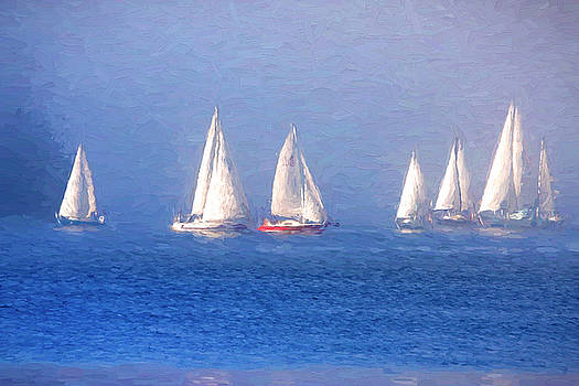 Peggy Collins - Seven Sailboats Sailing on the Sea