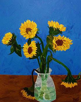 Seven Sunflowers in Vase by Joshua Redman