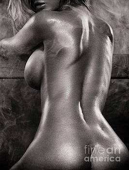 Sexy nude woman in steam room naked back artistic black and whit by Oleksiy Maksymenko