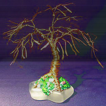 SHADE TREE on GLASS wire tree sculpture by Sal Villano
