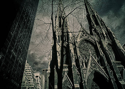 Shadow Falls Across St. Patrick's Cathedral New York City by John Brink