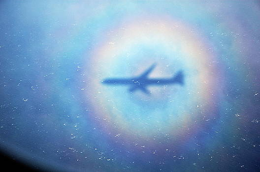 Sami Sarkis - Shadow of an aeroplane surrounded by a rainbow halo