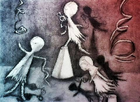 Mixed Media Drawing of Shadowed Ballet Dancers by Ayasha Loya by Ayasha Loya