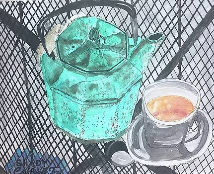 Shady Coffee and Tea Time  by Dottie Phelps Visker