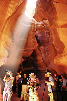 Shaft of light in Antelope Canyon, AZ by Carl Purcell