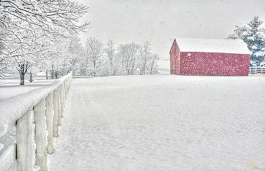 Sam Davis Johnson - Shaker Red Barn in Snow