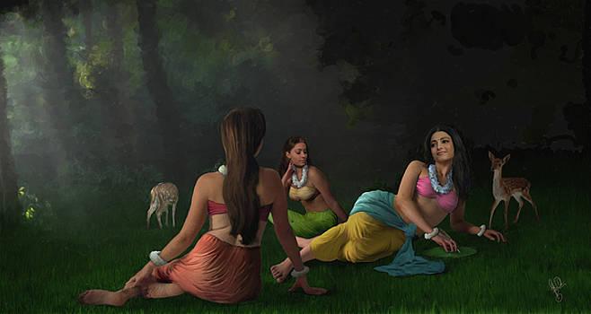 Shakuntala With Sakhis by Shreeharsha Kulkarni