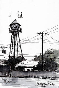 Shallowater Water Tower Sketch by Tim Oliver
