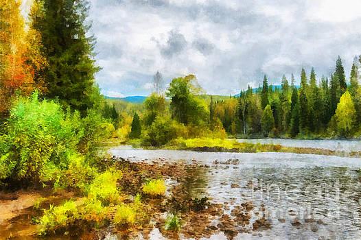 Shallows on the Nichka river illustration by Magomed Magomedagaev