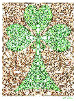 Shamrock with Knotted Background by Lise Winne