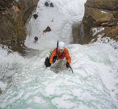 Shane Nelson climbing Kettle Falls near Homedale ID  by Elijah Weber