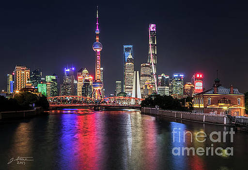 Shanghai Pudong District from the Zhapu Bridge 1 by Jeffrey Stone