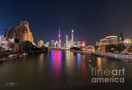 Shanghai Pudong District from the Zhapu Bridge 2 by Jeffrey Stone