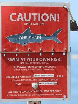 Gary Canant - Shark Warning Sign Pismo Beach
