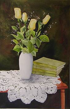 Shaw and Yellow Roses by Sharon Steinhaus