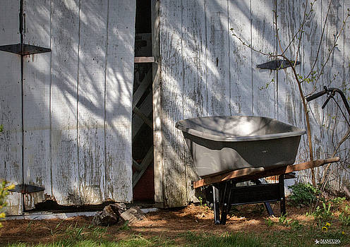 Shed Wheelbarrow and Shadows. by Phil Mancuso