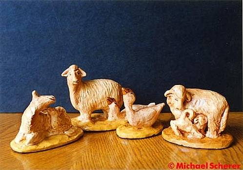 Sheep and Geese of the Nativity by Michael Scherer