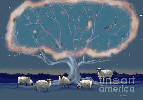 Sheep Under The Tree by Shane Guinn
