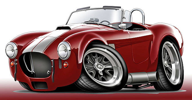 Shelby Cobra Maroon-White Car by Maddmax