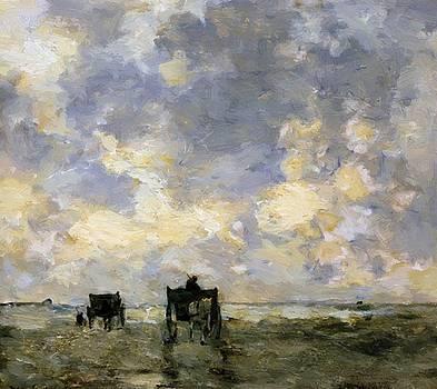 Weissenbruch Johan Hendrik - Shell Carts On The Beach
