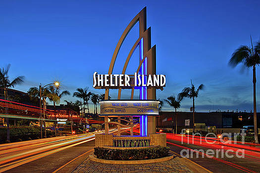 Shelter Island Sign with Traffic Light Trails by Sam Antonio Photography