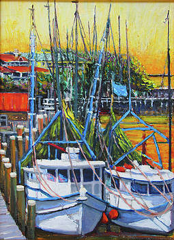 Shem Creek Shrimpers Sunset by Thomas Michael Meddaugh